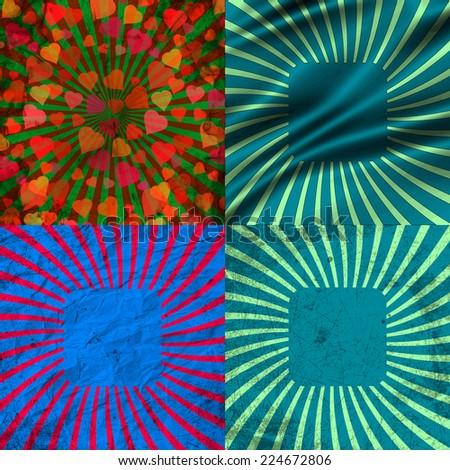 Set Vintage Colored Rays background. EPS10. Vector illustration - stock vector