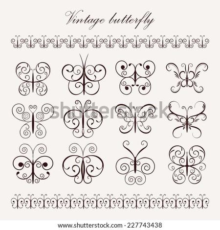 Set Vintage Decorative Butterflies Borders Design Stock Vector