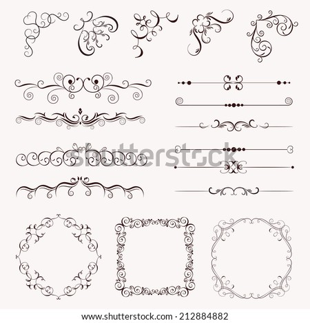 Set vintage decorative elements, frames, borders, corner for design, Can use for birthday card, wedding invitations. - stock vector