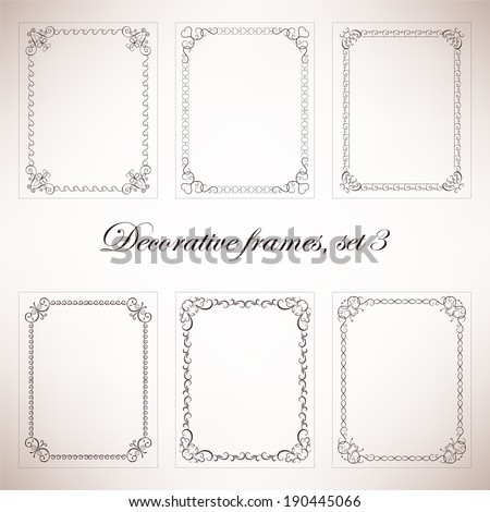 Set vintage decorative frames and borders - stock vector