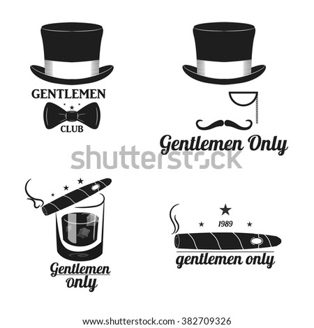 Set Vintage gentleman emblems, labels, badges and designed elements. Monochrome style. vector. hat, bow tie, mustache, cigar and more - stock vector