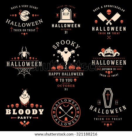 Set Vintage Happy Halloween Badges and Labels vector design elements - stock vector