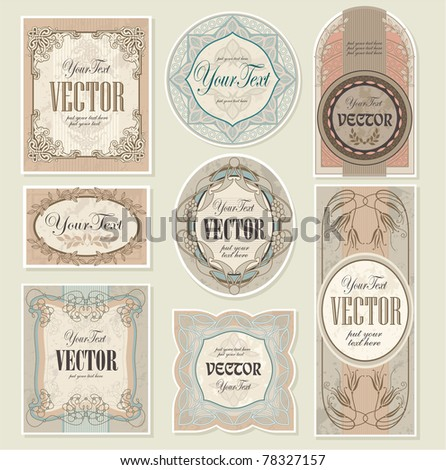 set vintage labels