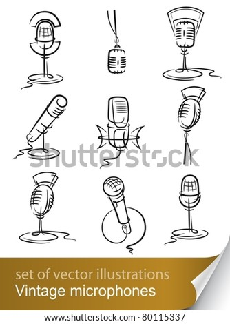 set vintage microphone vector illustration isolated on white background - stock vector