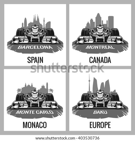 Set vintage poster Grand Prix Formula one. Barcelona, Spain, Montreal, Canada, Monte Carlo, Monaco, Baku, Europe - stock vector