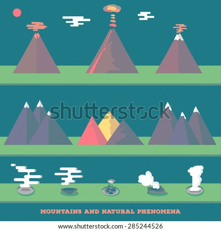 Set volcanoes, mountains and geysers erupting and quiet, for your wild nature design. Vector. - stock vector