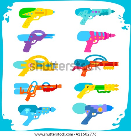Set water guns. collection of water pistols on a white background. Water pistols in frame with water spray. toy guns - stock vector