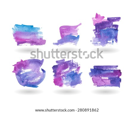 Set watercolor background stains. Watercolor set of banners. Six purple and blue watercolor background texture. Stock vector.