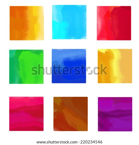 Set watercolor colorful rainbow backgrounds, blocks, square paint stains isolated. Frames. Art abstract - stock vector