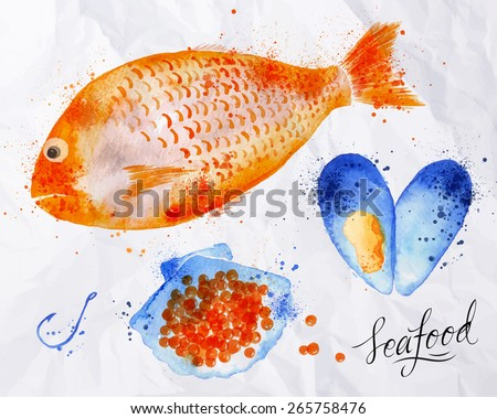 Set watercolor drawn seafood, fish, red caviar, mussel, shell, seafood, spray, hook on crumpled paper - stock vector