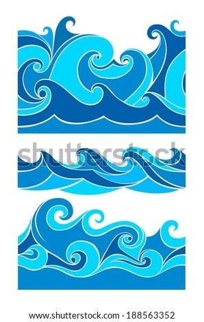 Set waves - seamless pattern, from element of the design - stock vector
