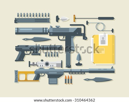 Set weapons. Military and war, ramrod and gun, silencer and sniper rifle, flat vector illustration - stock vector