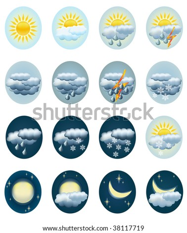 Set weather icons. Vector illustration.