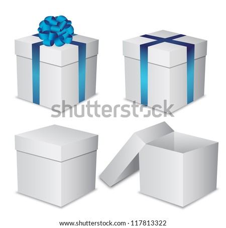 Set white gift boxes with a blue bow on white background - stock vector