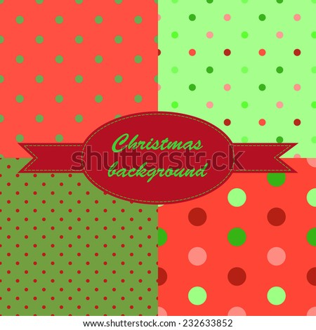 Set winter red and green seamless pattern with small circles and dots for Christmas design. Christmas background