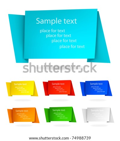 Set with abstract origami speech bubbles. Vector illustration. - stock vector