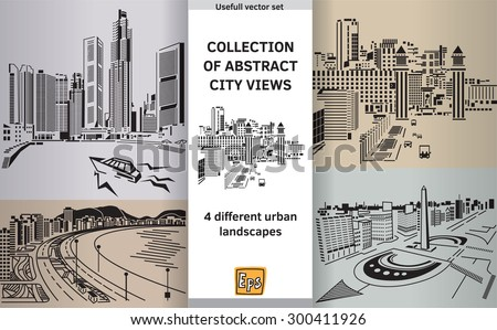 Set with abstract panoramas. Color vector illustration. Eps 10.  - stock vector