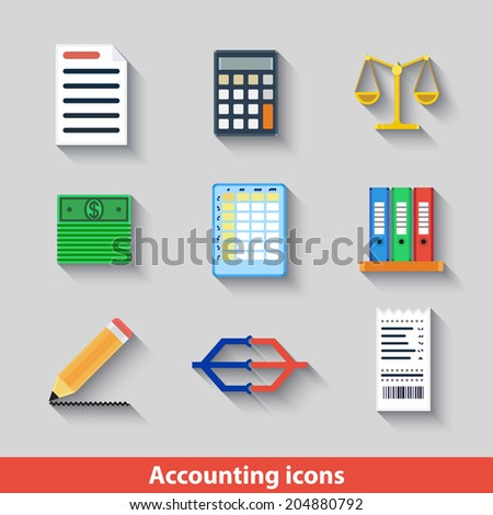 Set with accounting icons in flat geometrical style - stock vector