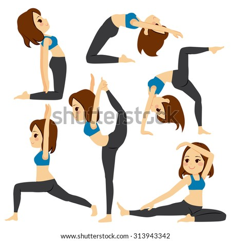 Set with beautiful girl exercising various different yoga poses training - stock vector