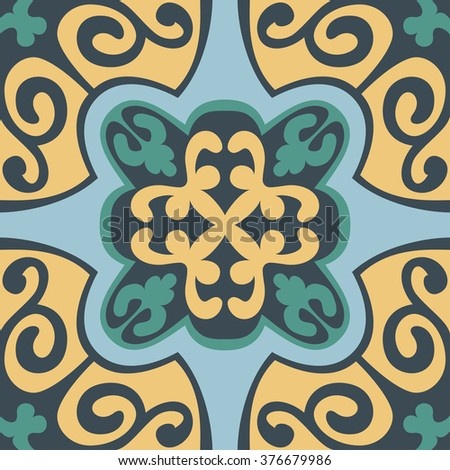 Set with Beautiful ornamental tile background. Vector illustration great for patterns, vintage design, and wallpaper. - stock vector