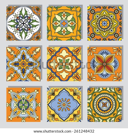 Set with Beautiful seamless ornamental tile background. Vector illustration - stock vector