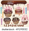 Set with Chocolate cakes and birthday decoration - stock vector
