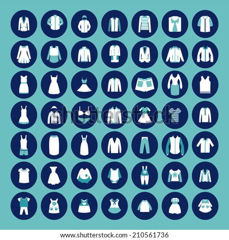set with collection Icons of Men's , Women and children's Fashion  clothing  - stock vector