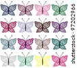 set with color butterflies on white - stock vector