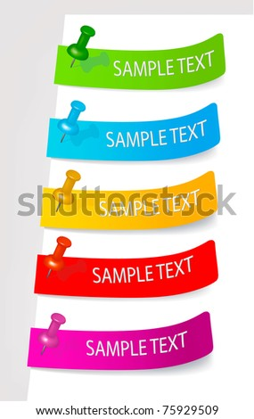 Set with colored stickers. Vector illustration. - stock vector