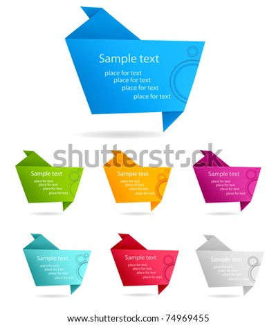 Set with colorful origami paper banners.   Vector illustration. - stock vector