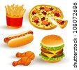 Set with Colorful Vector Fast Food Icons - stock vector