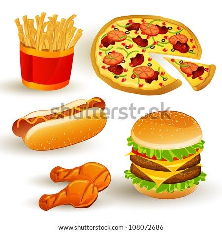 Set with Colorful Vector Fast Food Icons