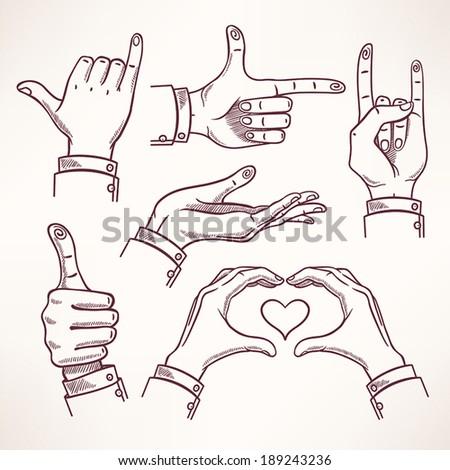 set with contour sketch hands in different interpretations - 1  - stock vector