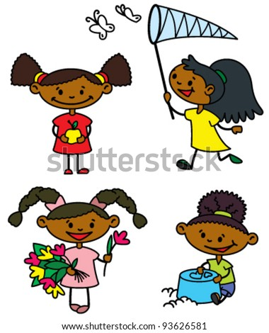 Set with cute afro-american girls characters, color version
