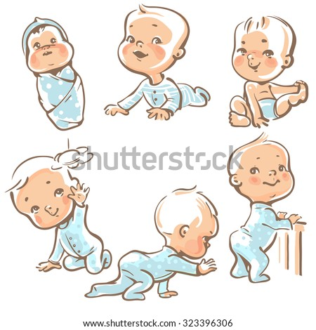 Set with cute baby boys.  Growth  from newborn to toddler. First year activities. Crawling, sitting, standing, playing, smiling. Vector Illustration isolated  on white background - stock vector