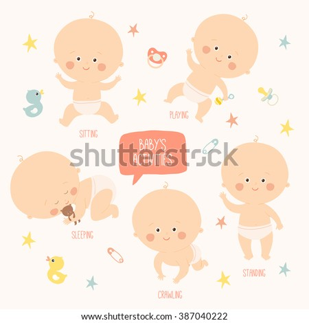 Set with cute baby girls. Growth from newborn to toddler. Various poses.First year. activities. Crawling, sitting, standing, playing, sleeping. Vector Illustration isolated  on white background