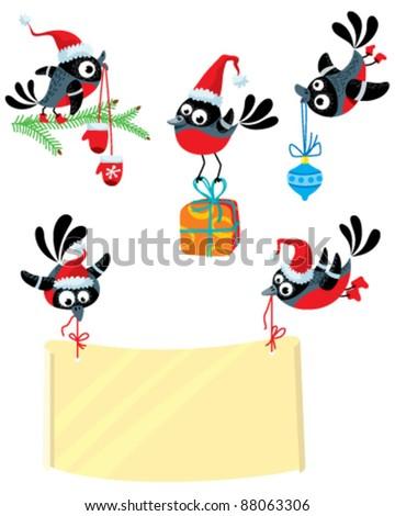 Set with cute Christmas bullfinch birds - stock vector