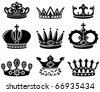 Set with cute crown silhouettes - stock vector