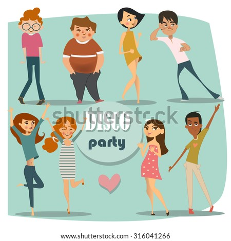 set with dancing people - stock vector