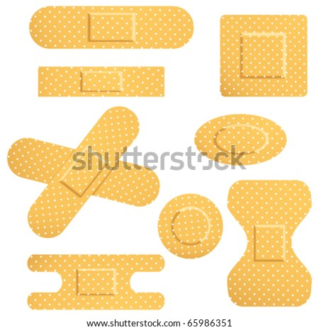 Set with different adhesive bandage - stock vector