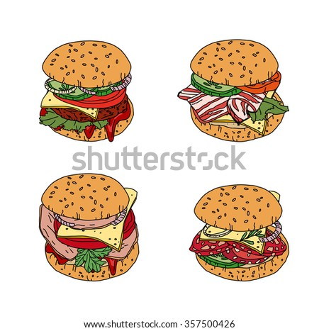Set with different burgers. Objects isolated on white. For your design, announcements, cards, posters, restaurant and cafe menu.
