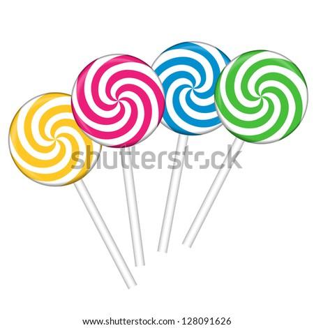 Set with different colorful lollipops, vector illustration - stock vector