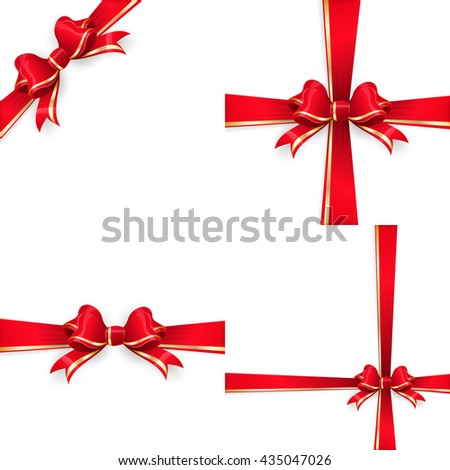 Set with different gift wrapping compositions of red gold bow and ribbon isolated on white background. Red gold ribbons. Red gold bow templates. Red gold bow backgrounds. EPS 10 vector file included