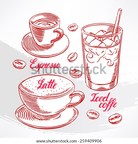 set with different types of coffee. hand-drawn illustration - stock vector