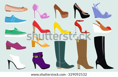 Set with different types of trend women's shoes: ballets, sneakers, boots, flats, pumps, converse. Flat vector illustration - stock vector