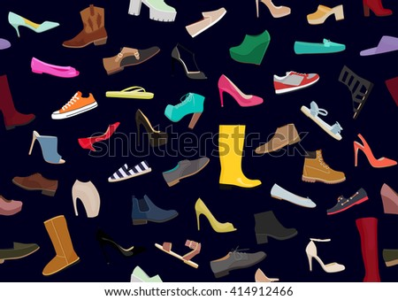 Set with different types of women's shoes. Women shoes isolated pattern. Collection of womens shoes. Flat vector pattern woman shoes . Footwear set illustration, vector collection of woman's shoes  - stock vector