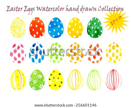 Set with easter eggs. Collection. Watercolor hand drawn illustration - stock vector