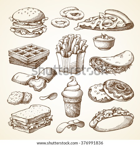 Set with fast food illustration. Sketch vector illustration. Fast food restaurant, fast food menu. Hamburger, hot dog, sandwich, snacks, waffles, pizza, french fries, ice cream, donuts, burger, sauce - stock vector
