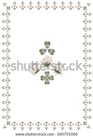 set with flowers of clover as frame and design element - stock vector