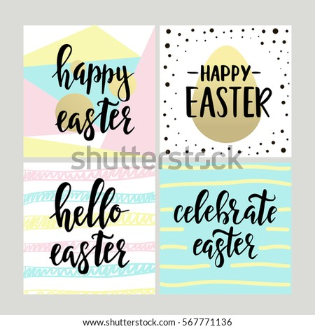 Set happy easter gift cards calligraphy stock vector 569339866 set with happy easter gift cards with calligraphy handwritten lettering hand drawn design elements negle Images